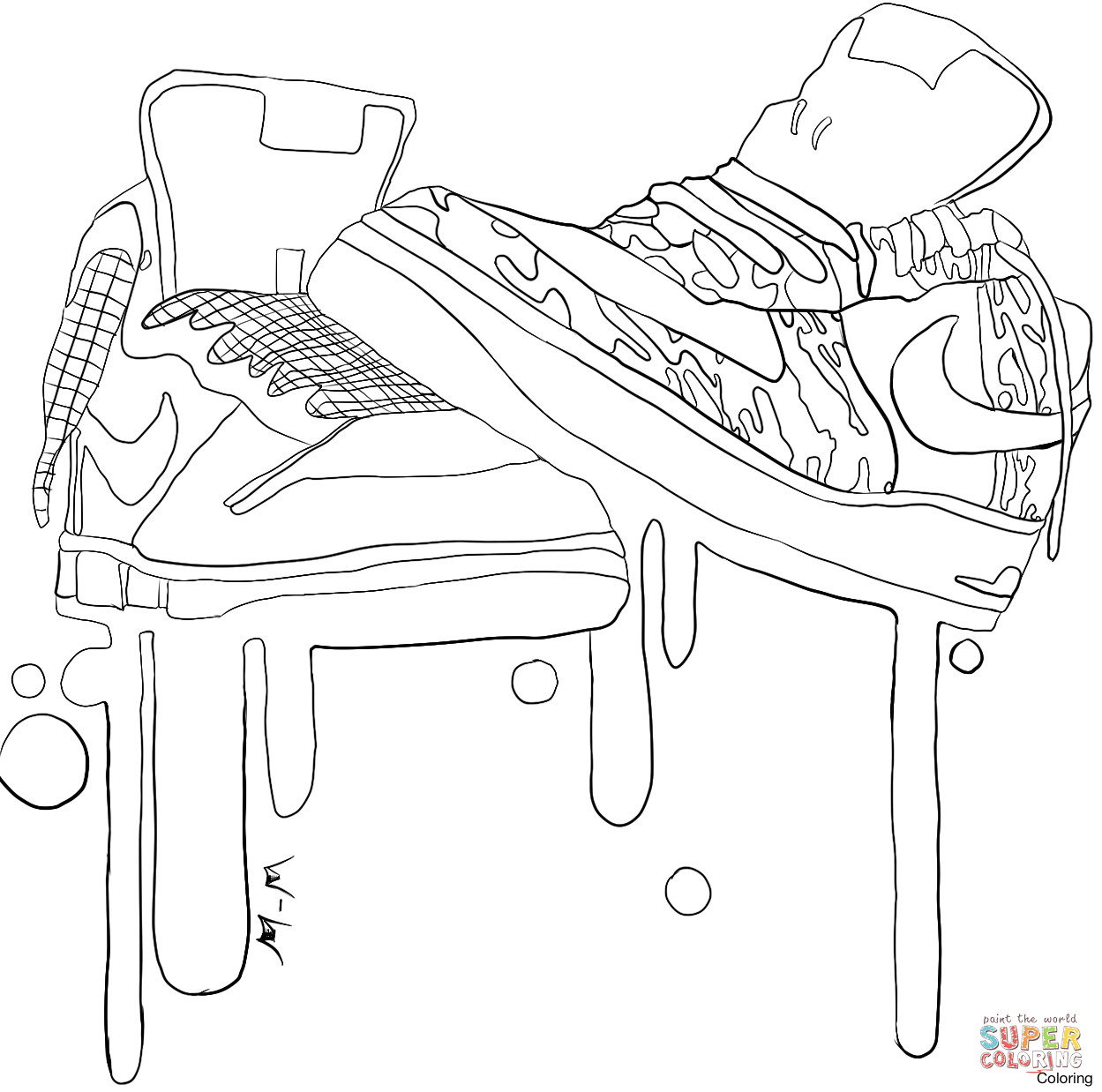 1249x1238 Coloring Pages Nike Shoes Page Fun Brilliant