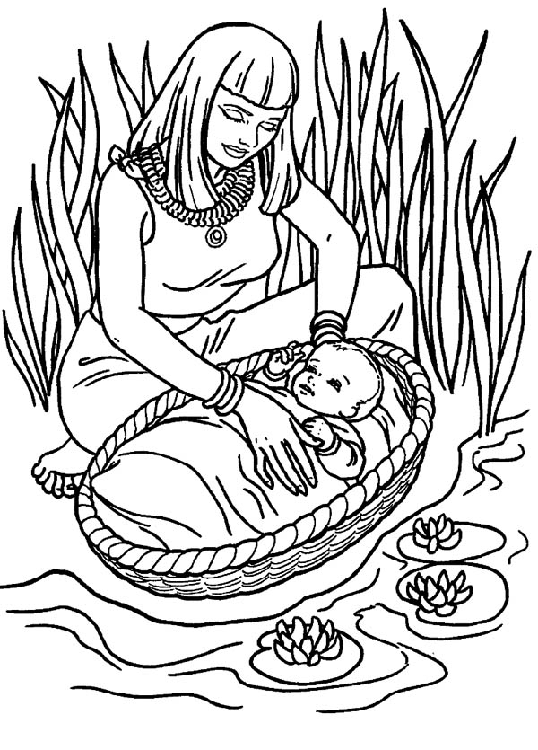 600x835 Coloring Pages Baby Moses In The River Moses Found Safely In River