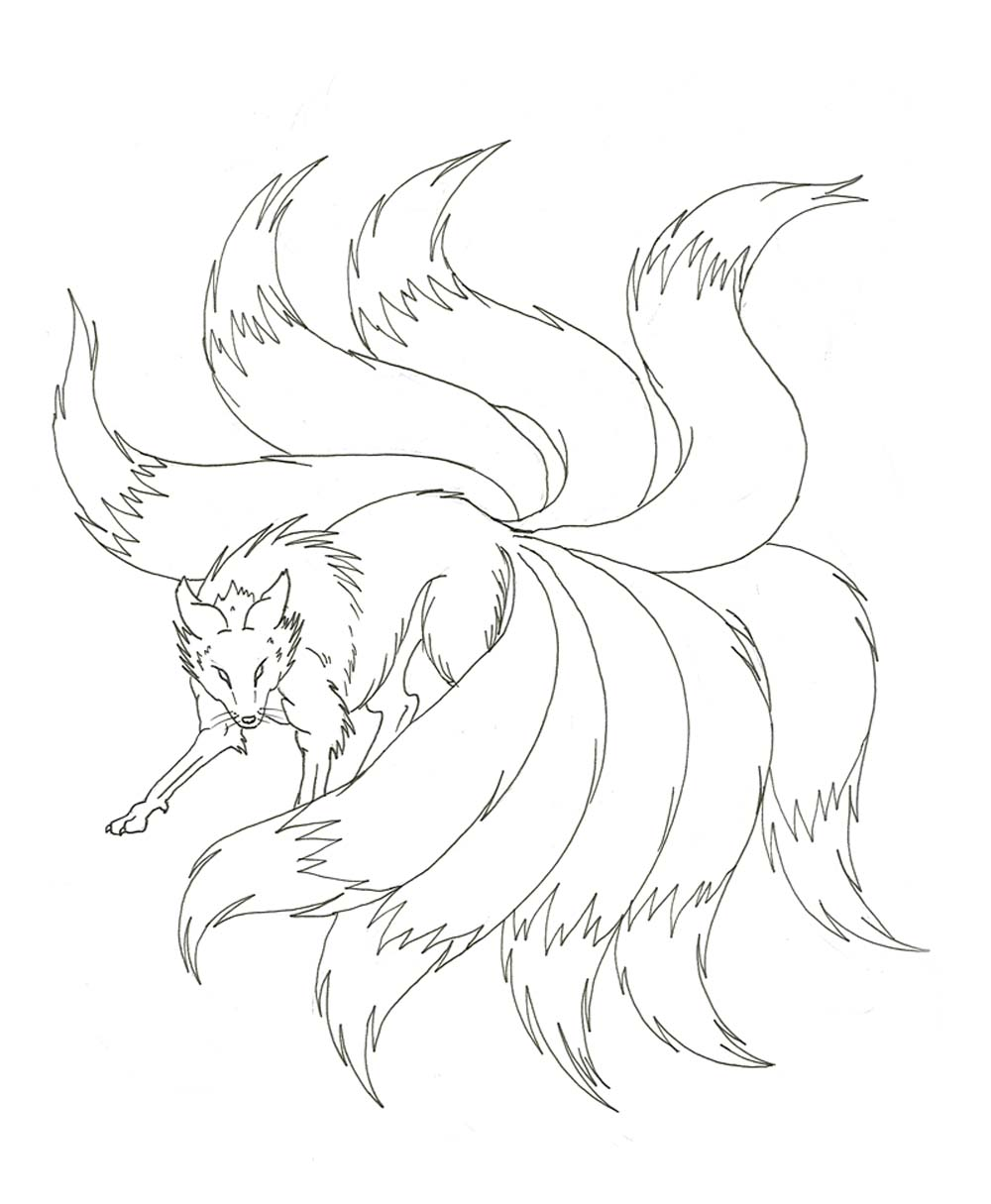 Nine Tailed Fox Coloring Pages