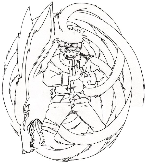 600x665 Naruto Nine Tailed Fox Coloring Pages