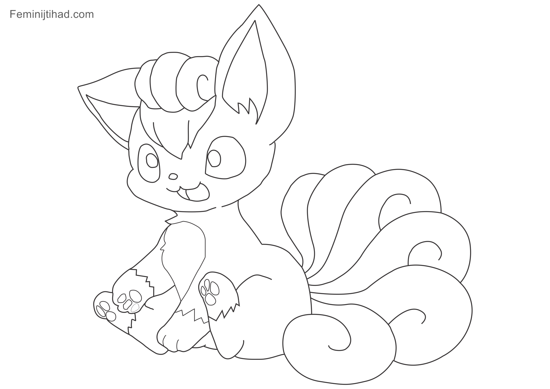 1920x1358 New Ninetales Pokemon Coloring Page Windingpathsart