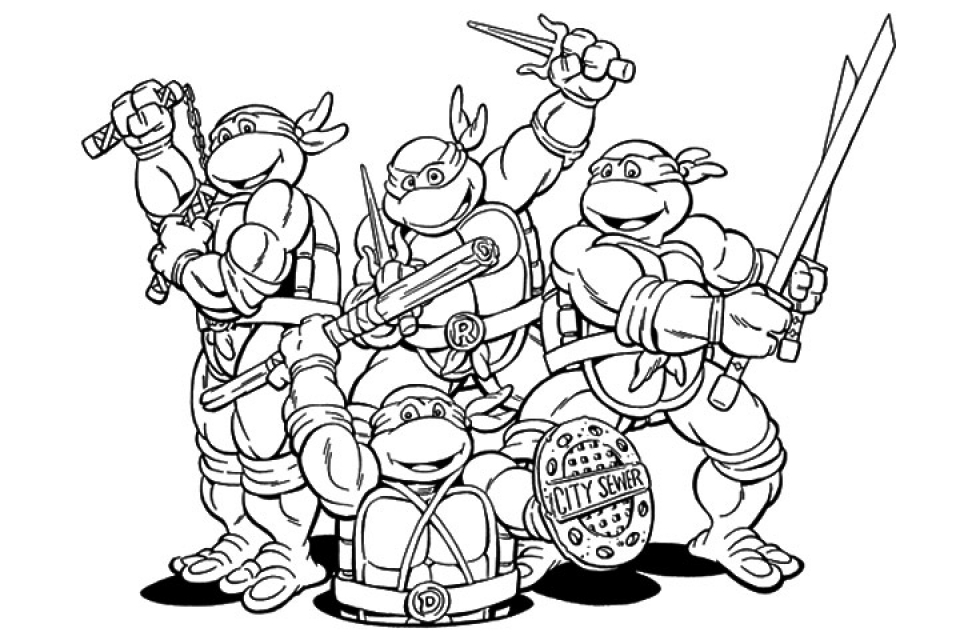 960x640 Printable Ninja Turtle Coloring Pages