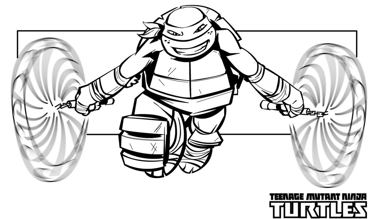 1280x744 Awesome Ninja Turtles Coloring Sheets Turtle Pages Michelangelo