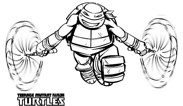 600x349 Ninja Turtle Michelangelo Coloring Pages