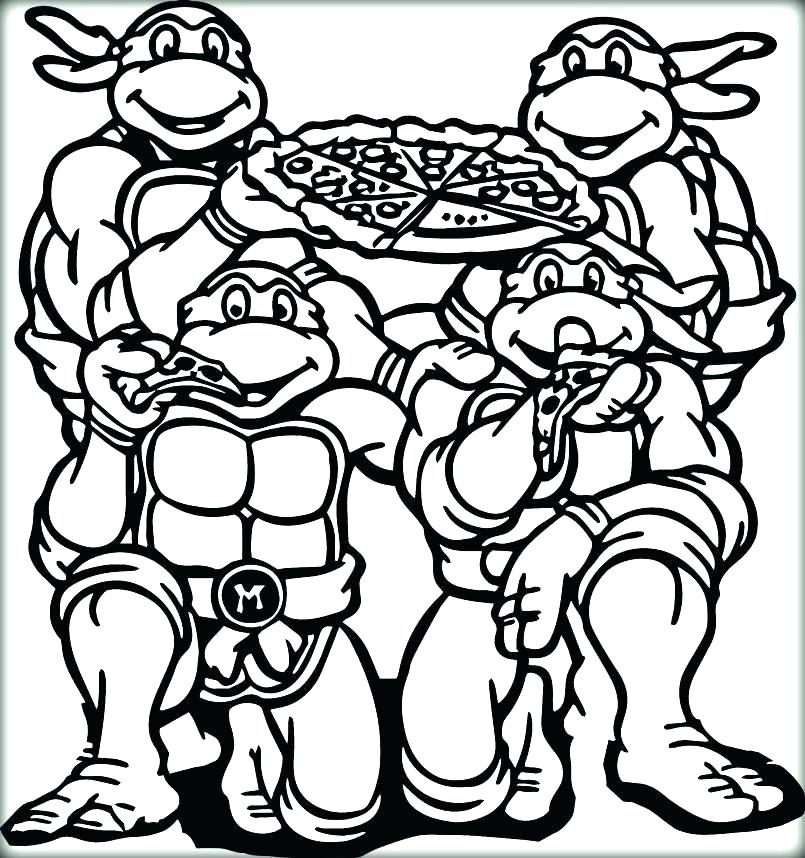 805x858 Ninja Turtles Coloring Page Pizza Pages Toppings Raphael Turtle