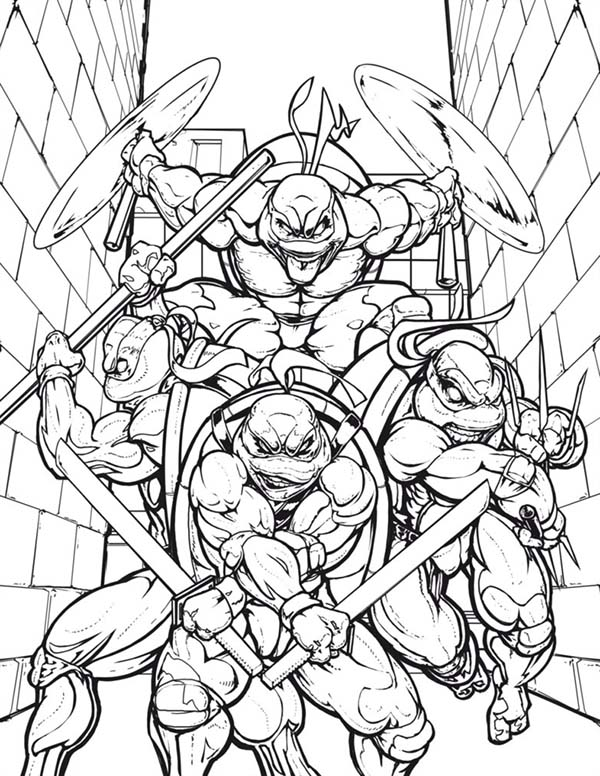 600x776 Teenage Mutant Ninja Turtles In The Alley Coloring Page