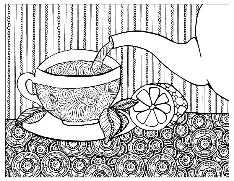 792x612 Tea Coloring Pages For Adults