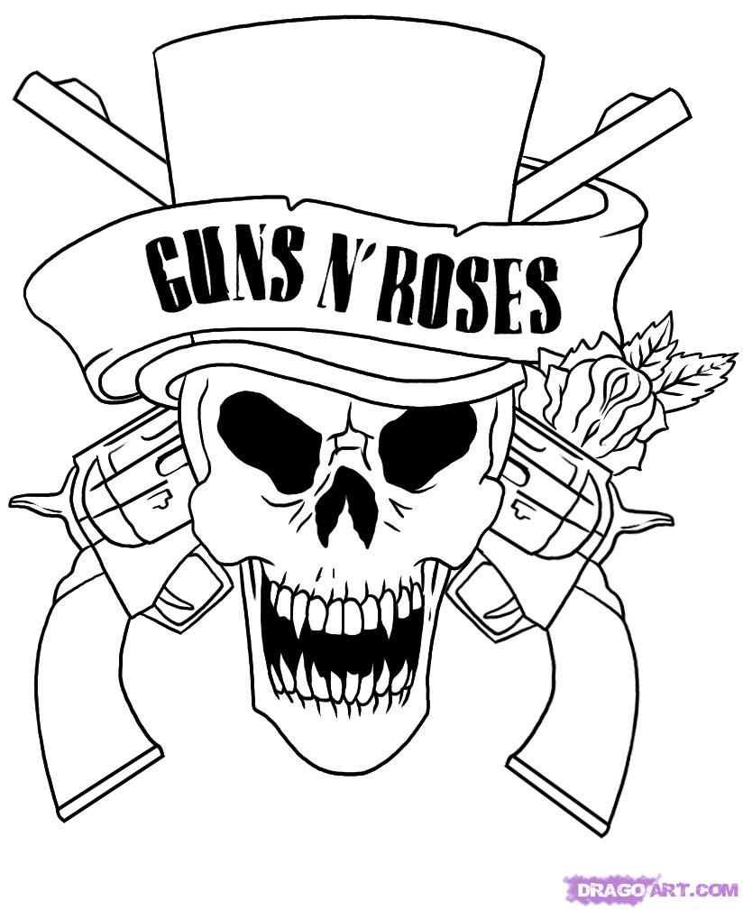 824x1009 Skull Adult Fantasy Vampire Guns N' Roses Coloring Pages