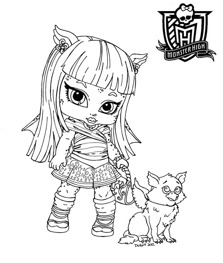 762x900 Draculaura Little Girl Monster High Coloring Page