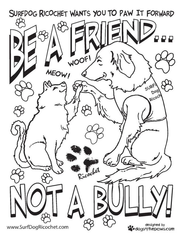 736x956 Anti Bullying Coloring Pages Surf Dog Ricochet Teachers, Etc My
