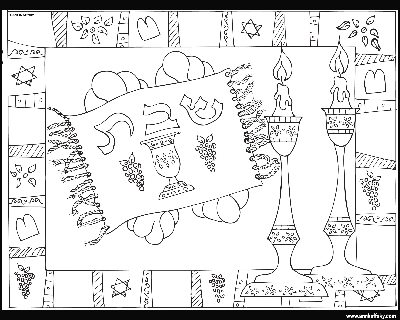3000x2400 Shabbat Coloring Page