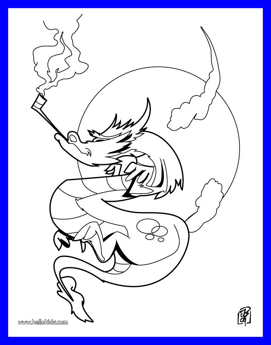 872x1112 Marvelous Smoking Dragon Coloring Hellokids Picture Of Head Page