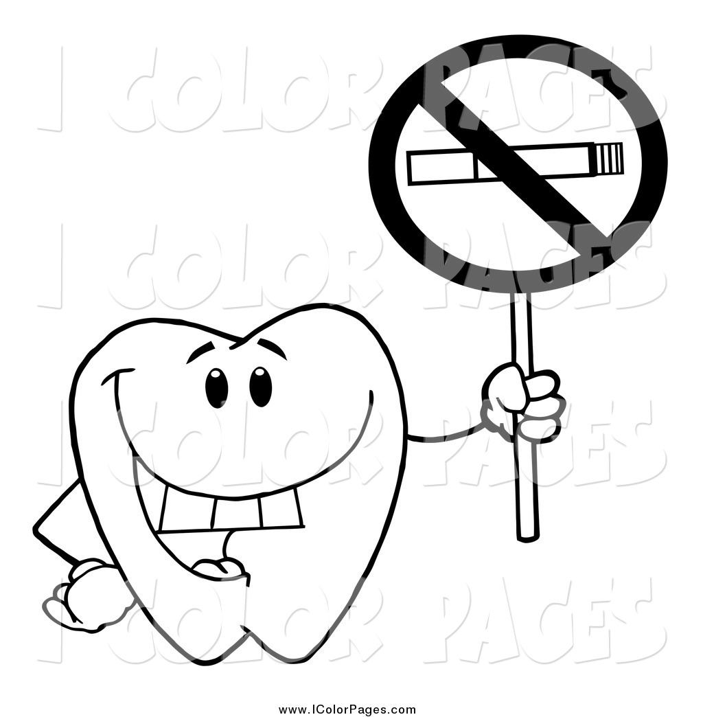 1024x1044 Vector Coloring Page Of A Black And White Dental Tooth Character