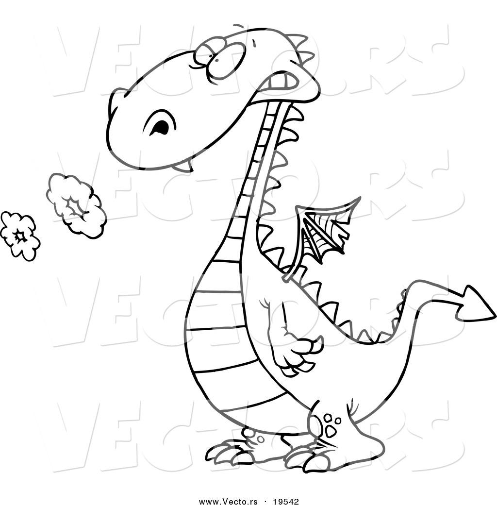1024x1044 Vector Of A Cartoon Smoking Dragon