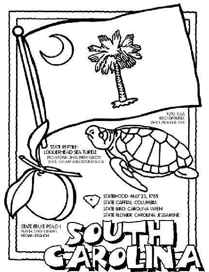 North Carolina State Symbols Coloring Pages