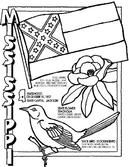 431x560 Mississippi State Symbol Coloring Page