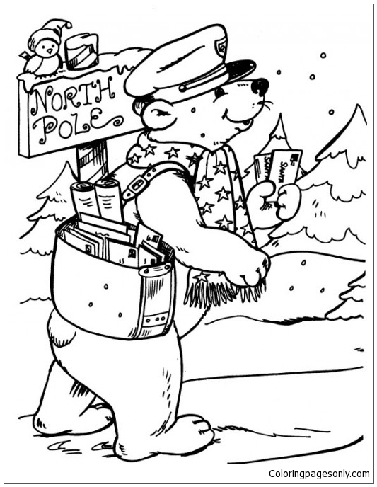 533x688 Bear Postman Delivering Letters To North Pole Coloring Page