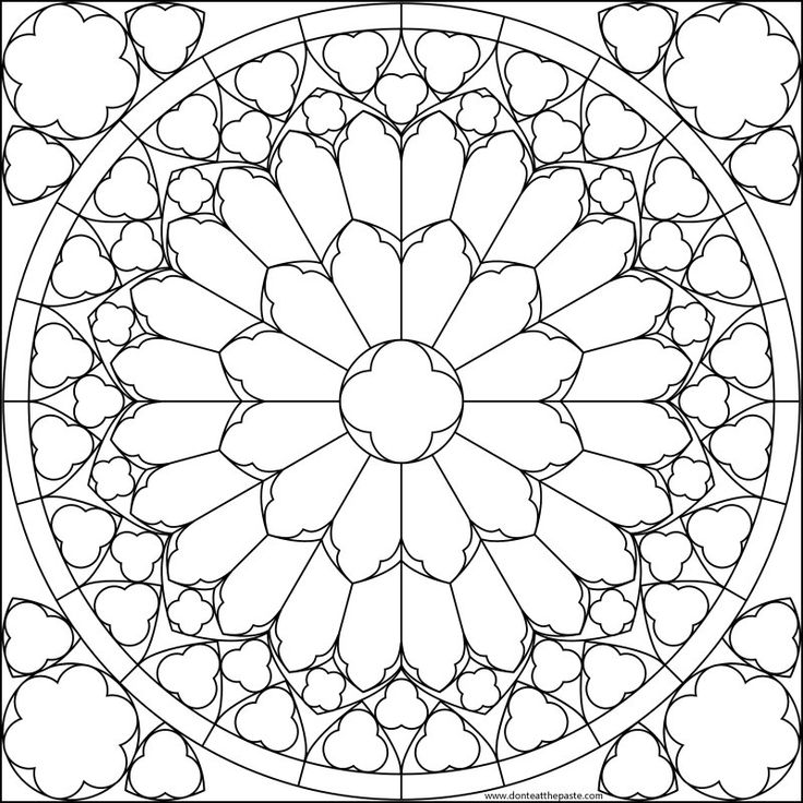 736x736 Notre Dame Rose Window Drawing