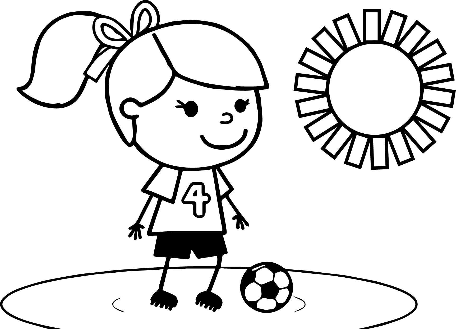 1725x1243 Sweet Soccer Girl Playing Football Coloring Page Wecoloringpage