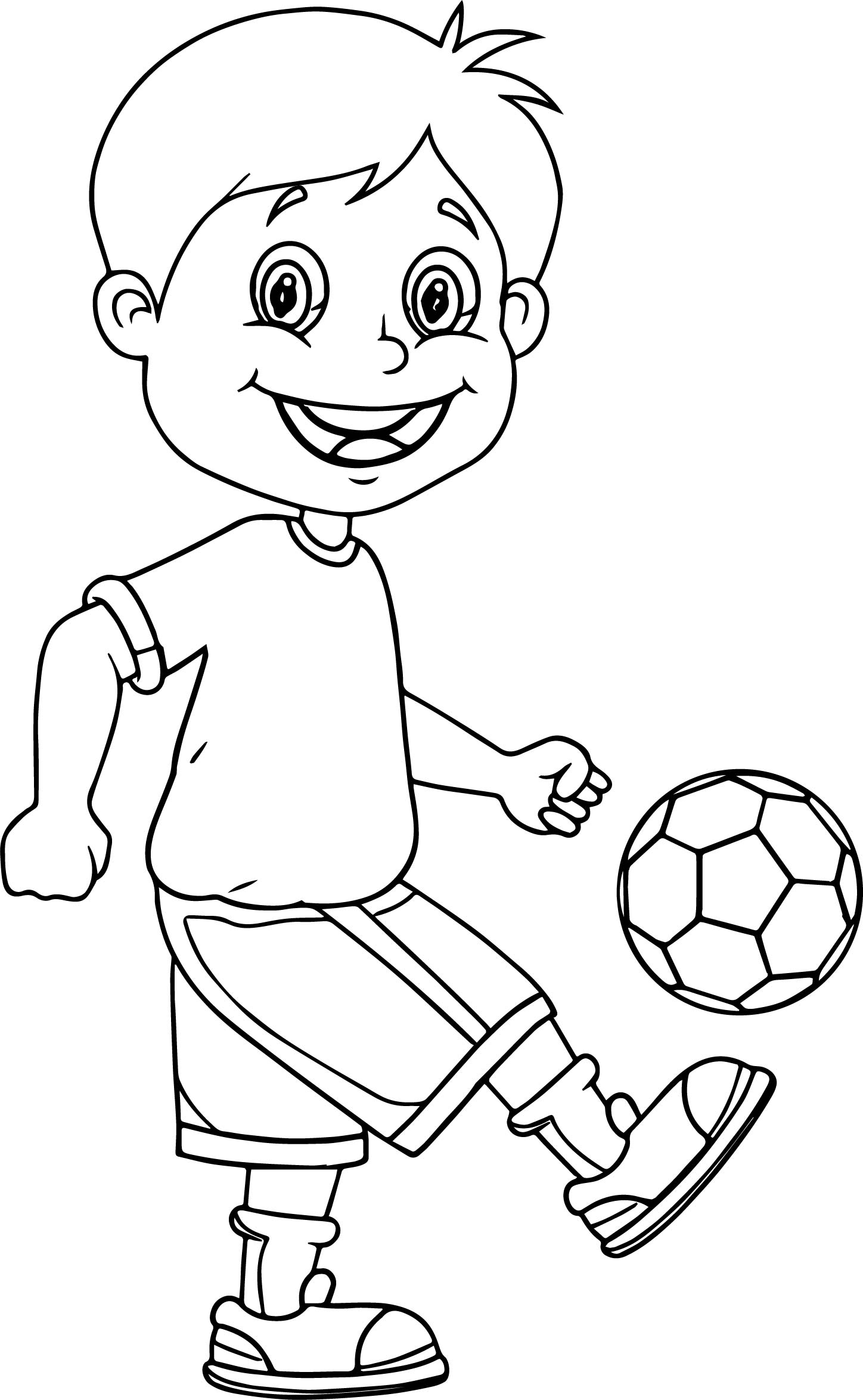 1448x2348 Bounce Ball Kids Soccer Playing Football Coloring Page