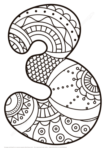 339x480 Number Zentangle Coloring Page From Zentangle Numbers Category