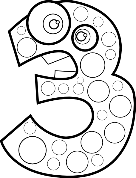 456x594 Black Number Coloring Page