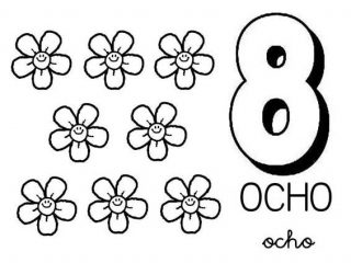 320x240 Number Coloring Pages Learn Number With Eight Flower Coloring