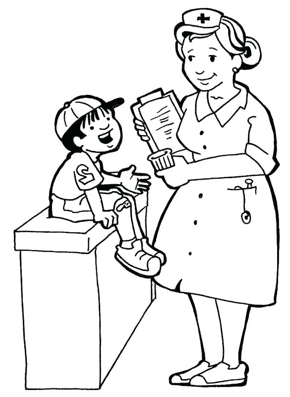 585x800 Nurse Coloring Page Nurse Coloring Pages Also Female Doctor