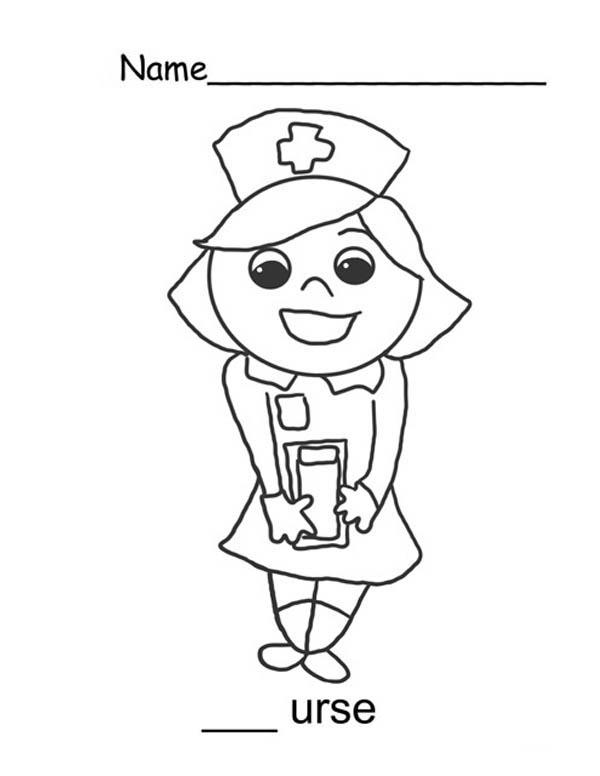 600x776 Nurse Sweet Smile Coloring Page