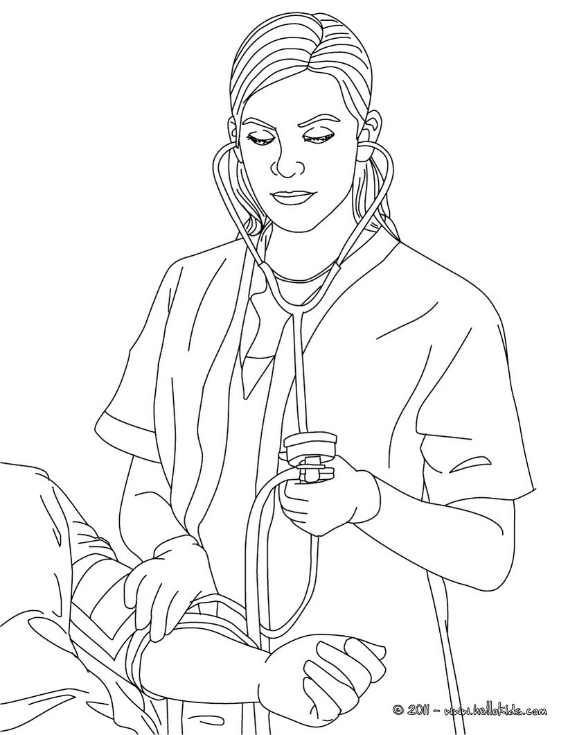 820x1060 Nurse Ckecking Blood Pressure Coloring Pages