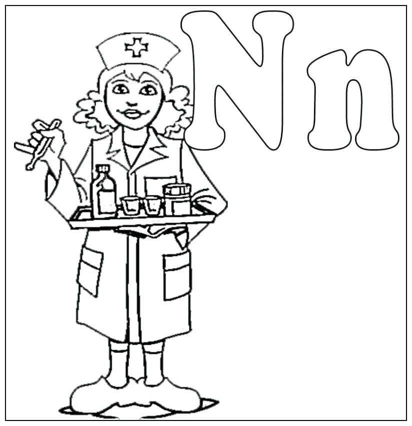 824x850 Nurse Coloring Pages N Is For Nurse Coloring For Kids Kids