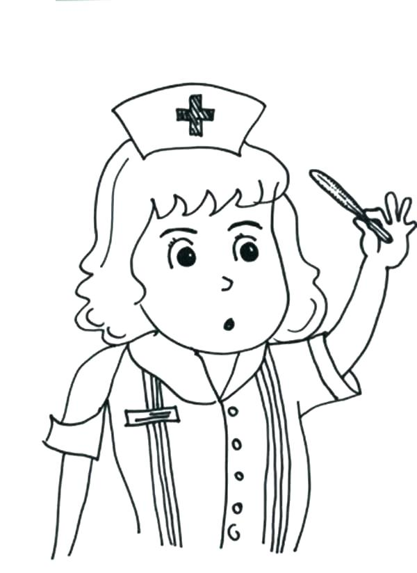 600x824 Nurse Coloring Page Doctor Coloring Pages For Preschool Simple