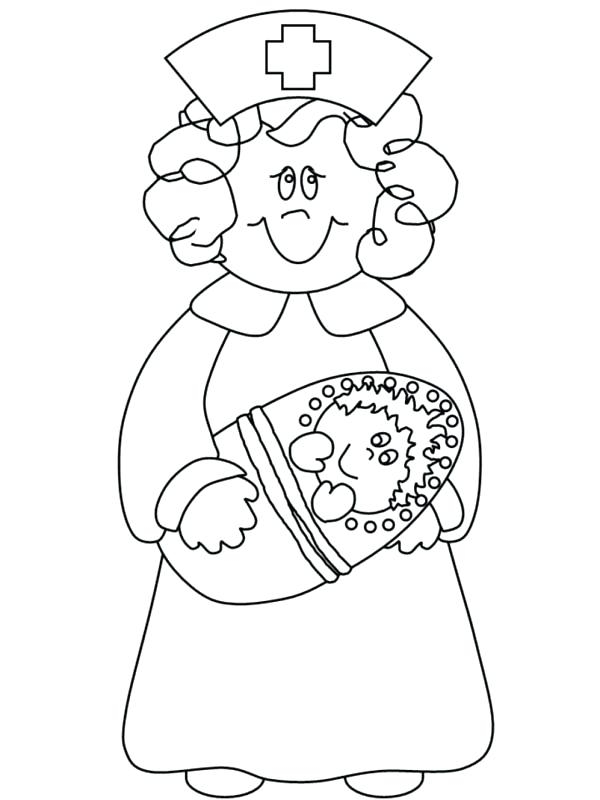 600x800 Nurse Coloring Page Little Girl Playing Nurse Coloring Page