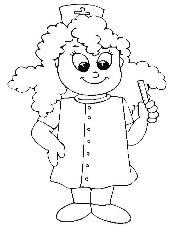 600x831 Nurse Coloring Pages Nurse Coloring Pages Plus Curly Beautiful