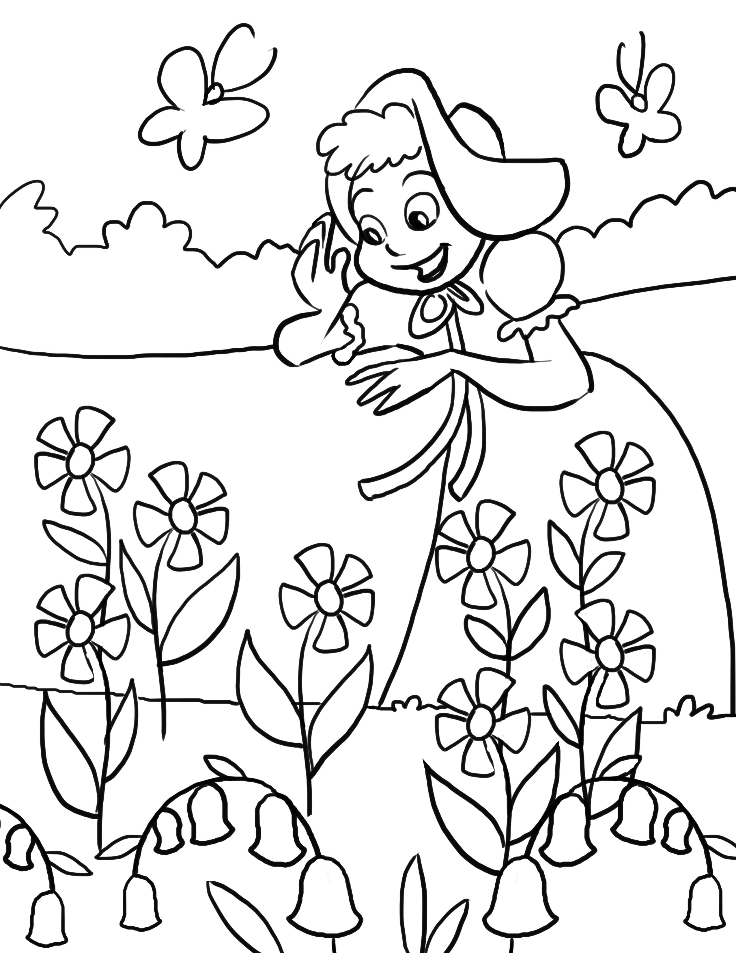 2550x3300 Artwork For Kids To Color Mary Mary Quite Contrary Nursery Rhyme
