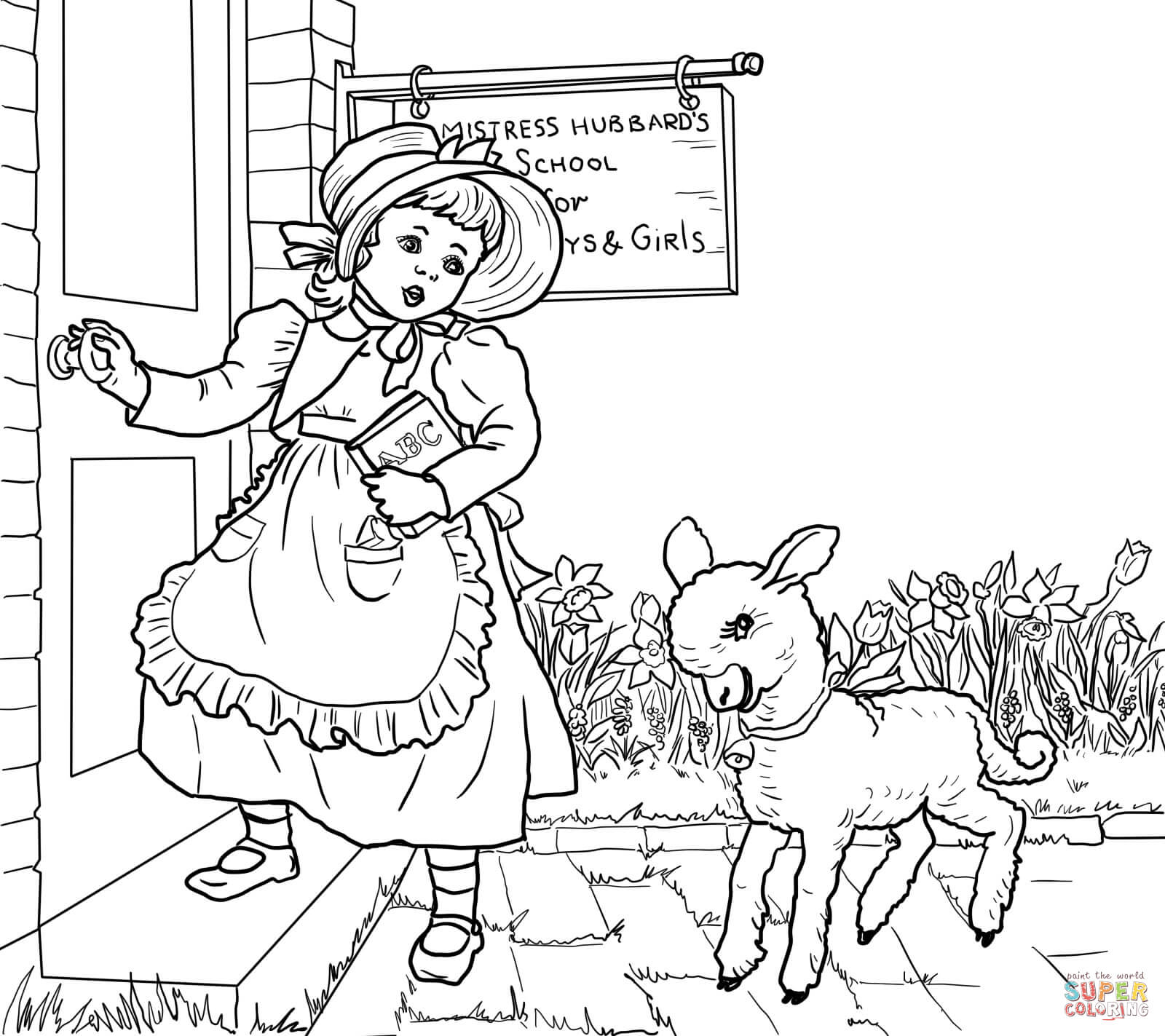 1600x1423 Mary Had A Little Lamb Nursery Rhyme Coloring Page Free