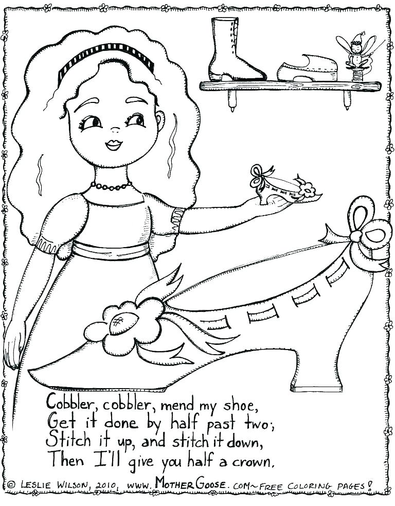 768x983 Nursery Rhyme Coloring Pages