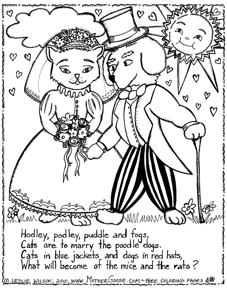 768x983 Cats Are To Marry The Poodle Dogs Coloring Page, A Free Mother
