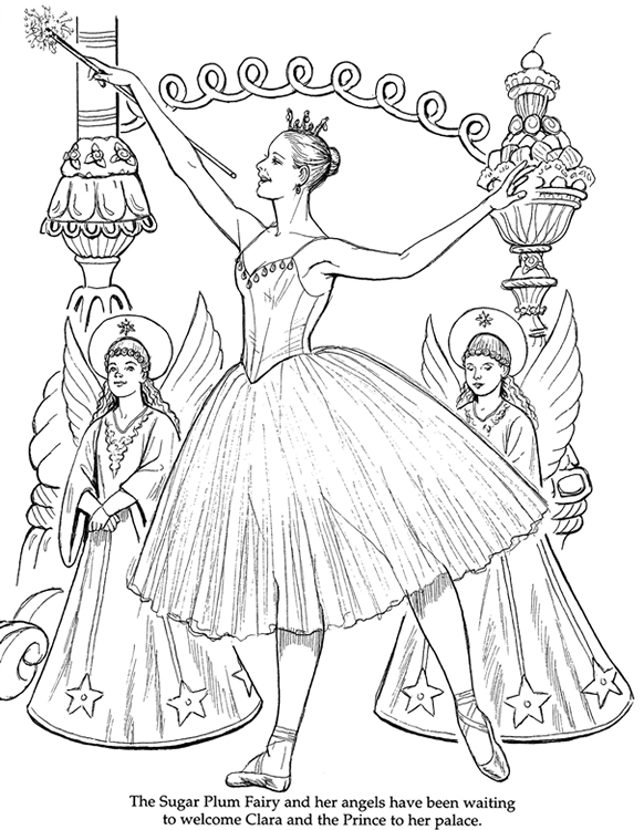 582x750 Ballerina Coloring Pages For Christmas