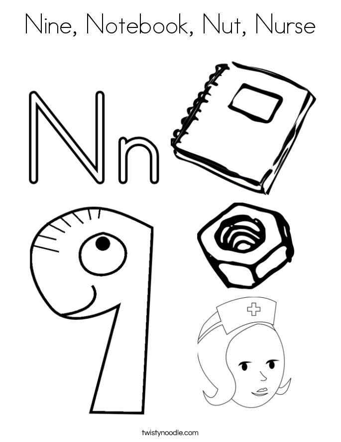 685x886 Nine, Notebook, Nut, Nurse Coloring Page
