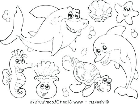 450x340 Coloring Pages Of Ocean Animals Cool Sea Animals Coloring Pages
