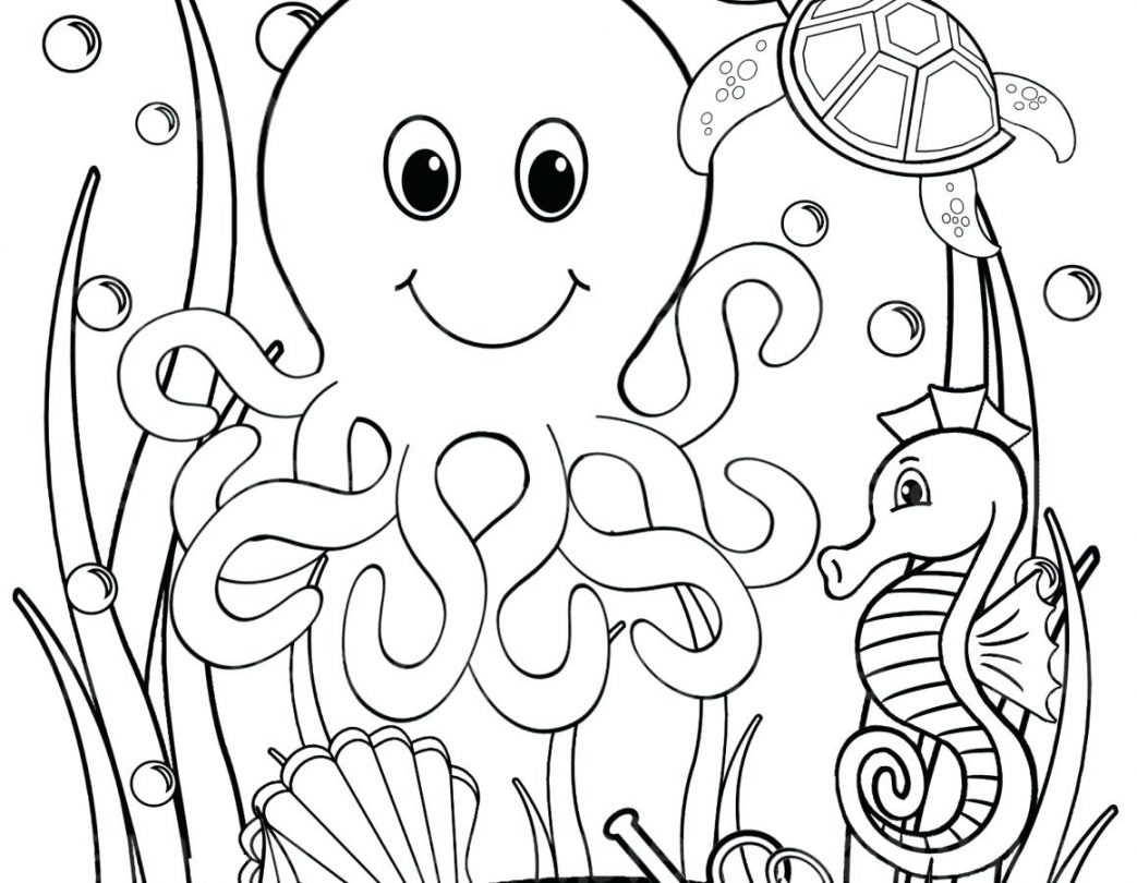 1043x810 Ocean Coloring Sheets For Adults Seahorse Page Adult Sheet