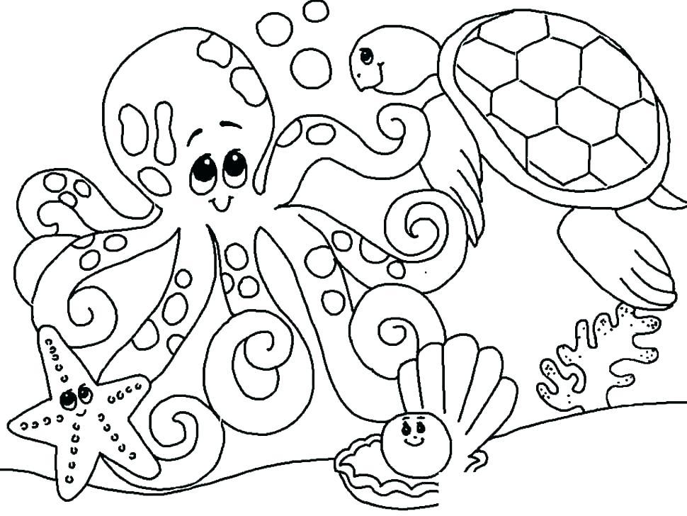 970x728 Ocean Coloring Pages Ocean Color Pages For Preschool Ocean Animals