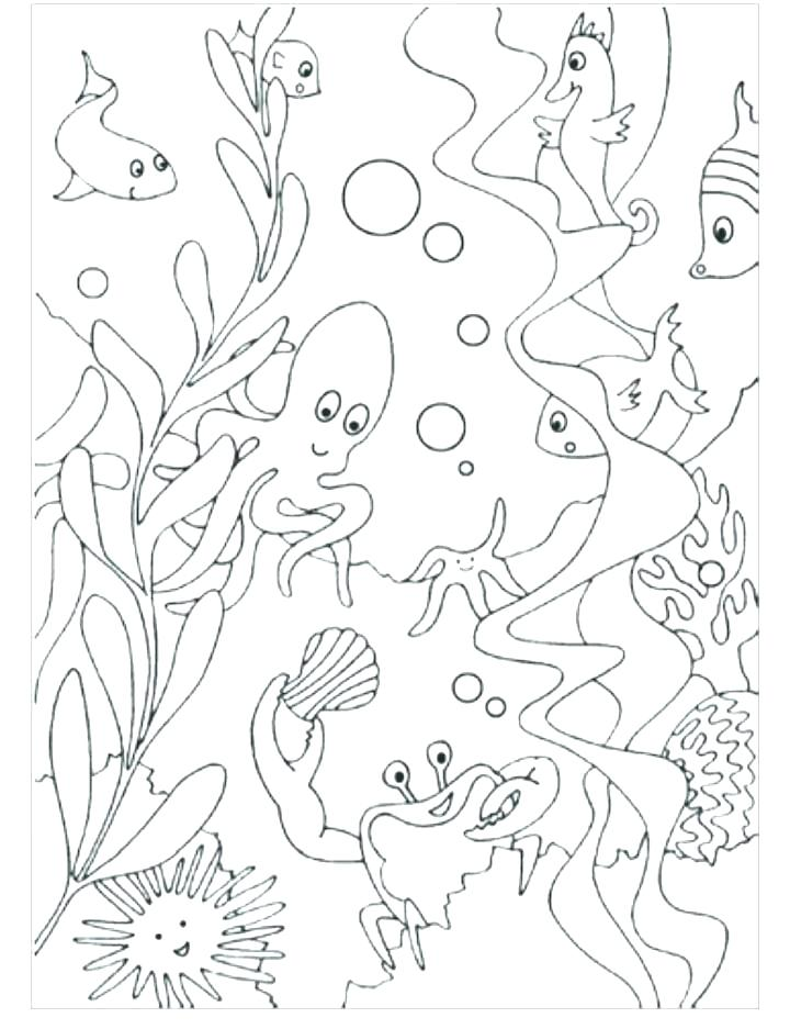 720x937 Ocean Scene Coloring Page This Is Underwater Coloring Pages Images