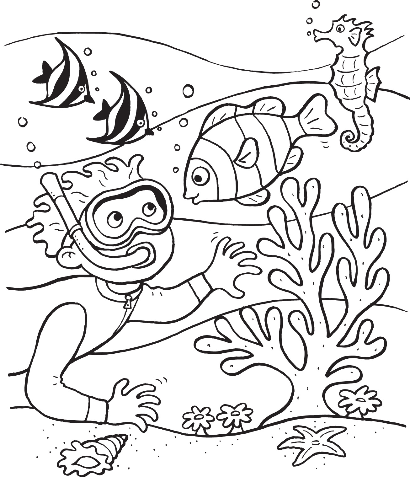 1307x1520 Underwater Coloring Pages