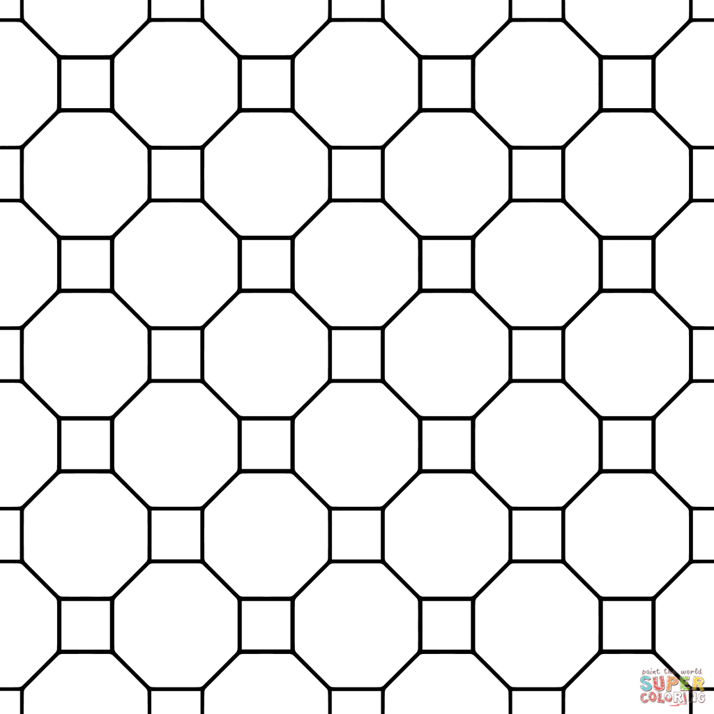 1024x1024 Tessellation With Octagon And Square Coloring Page For Kids