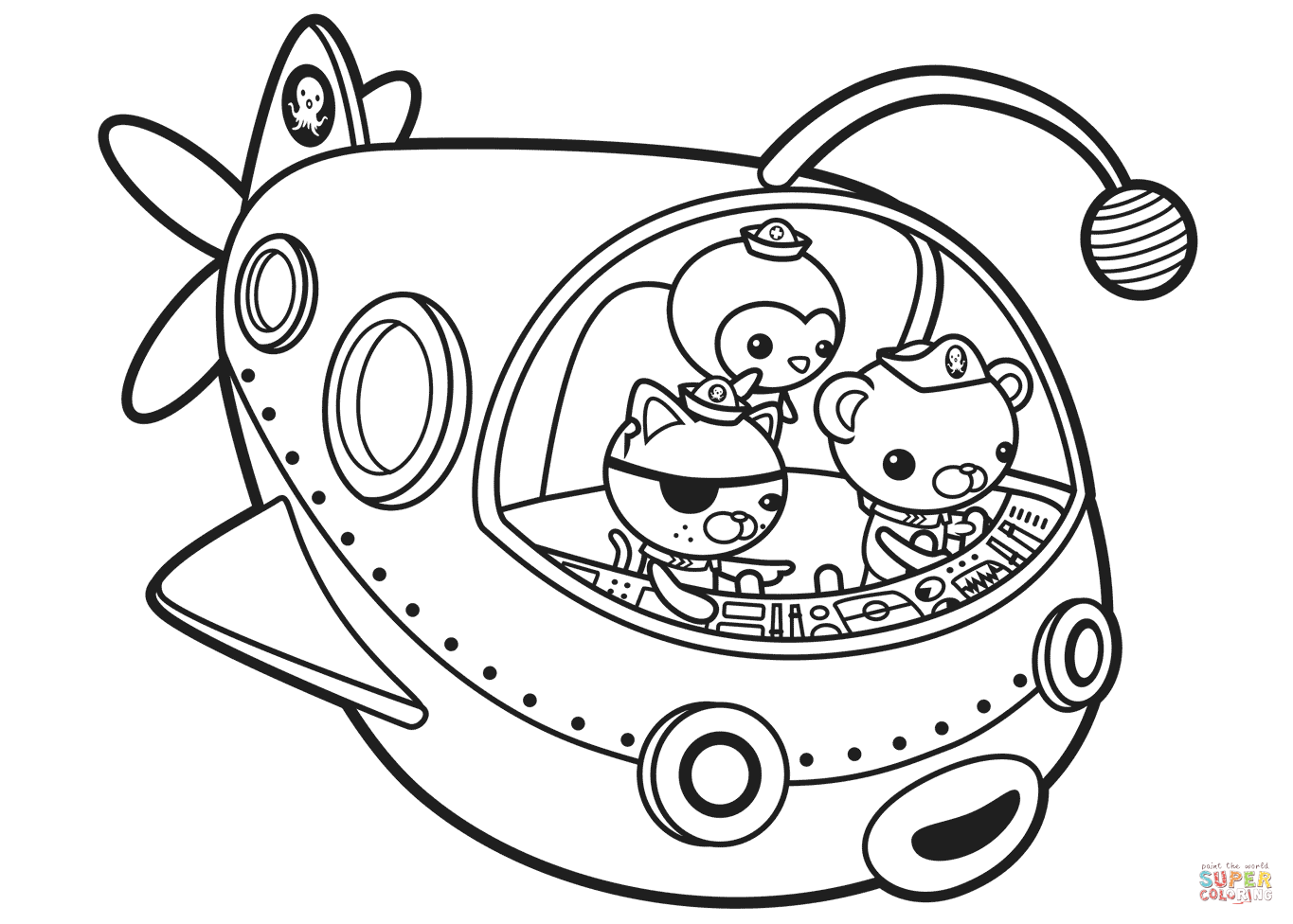 1365x976 Octonauts Coloring Pages In Spaceship Free Prntable Cartoons Tweak