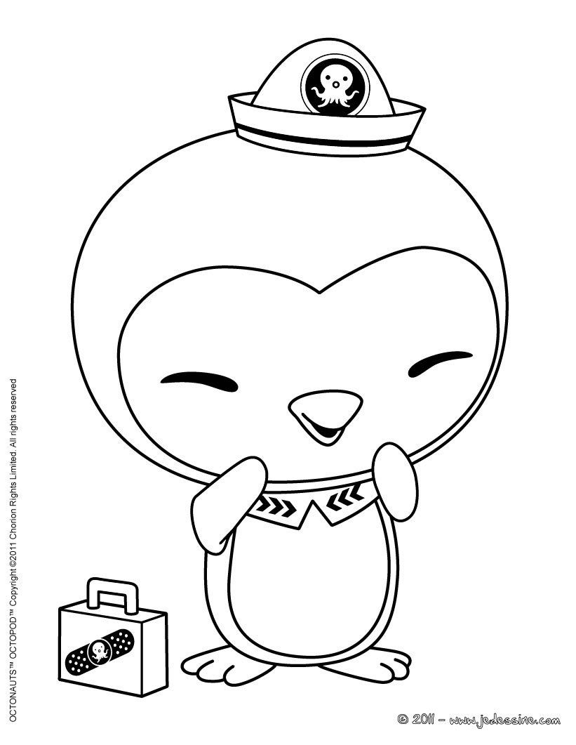 821x1061 Octonauts Coloring Pages For Free Coloriage Medic Peso Penguin