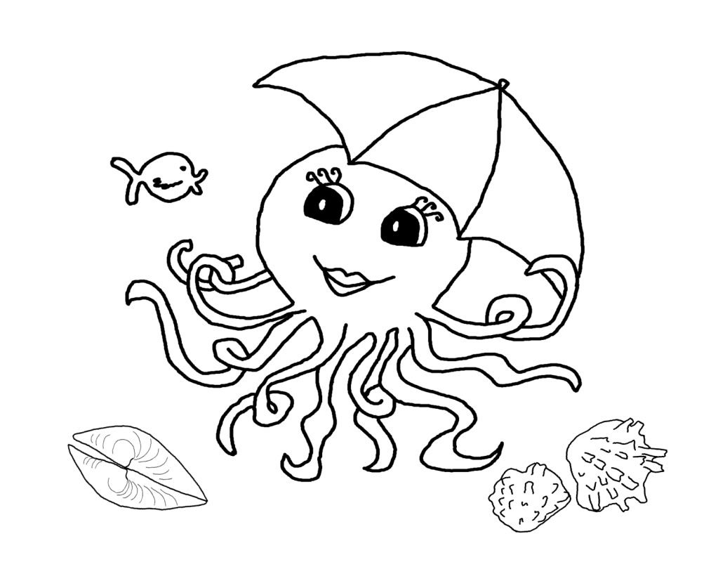 1023x837 Astonishing Ideas Outline Pictures For Colouring Octopus Coloring