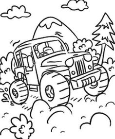 236x286 Car Monster Truck Off Road Coloring Page